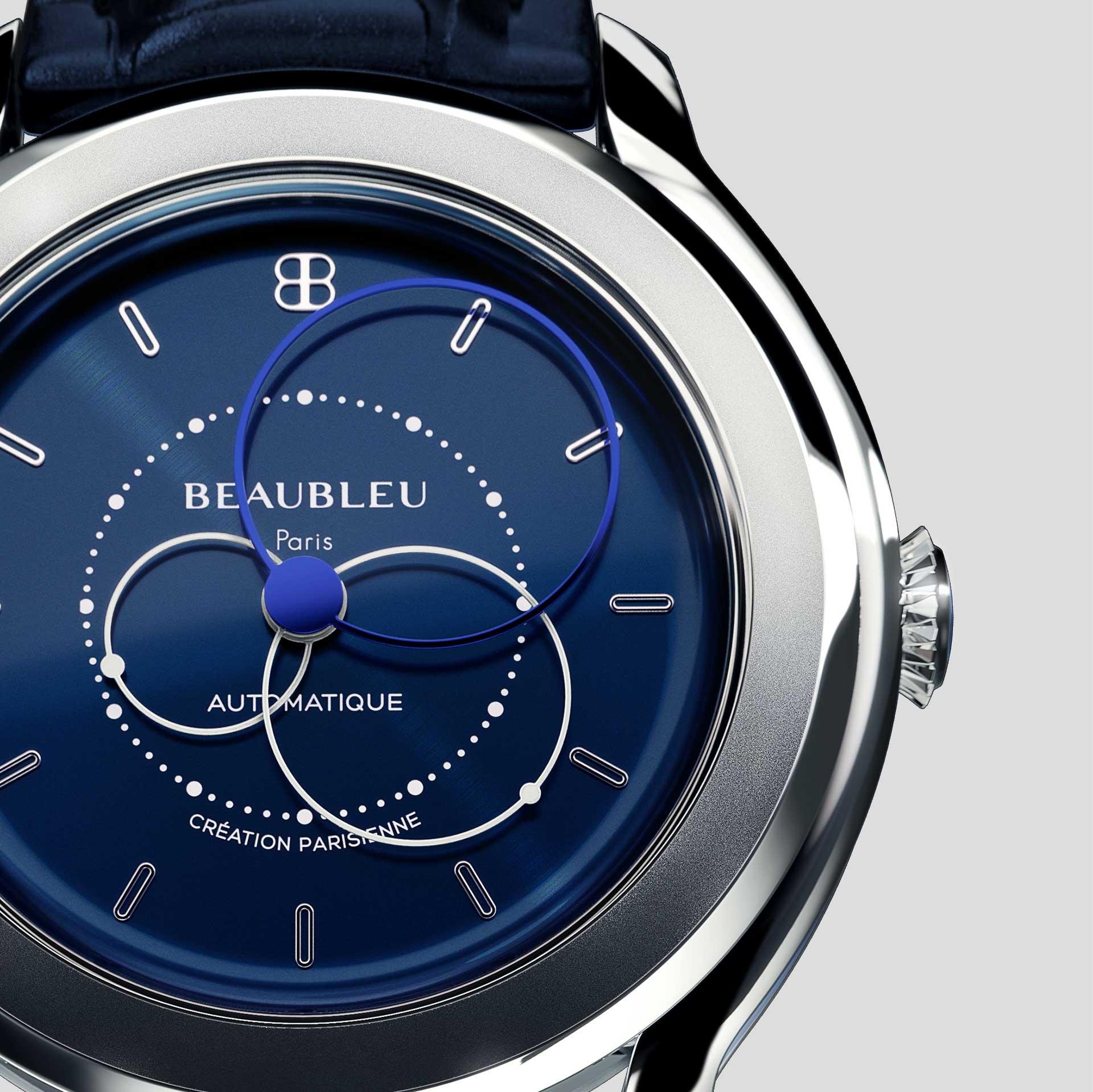 Beaubleu collection Union montre automatique aux aiguilles rondes Brio Bleu Klein zoom sur le cadran