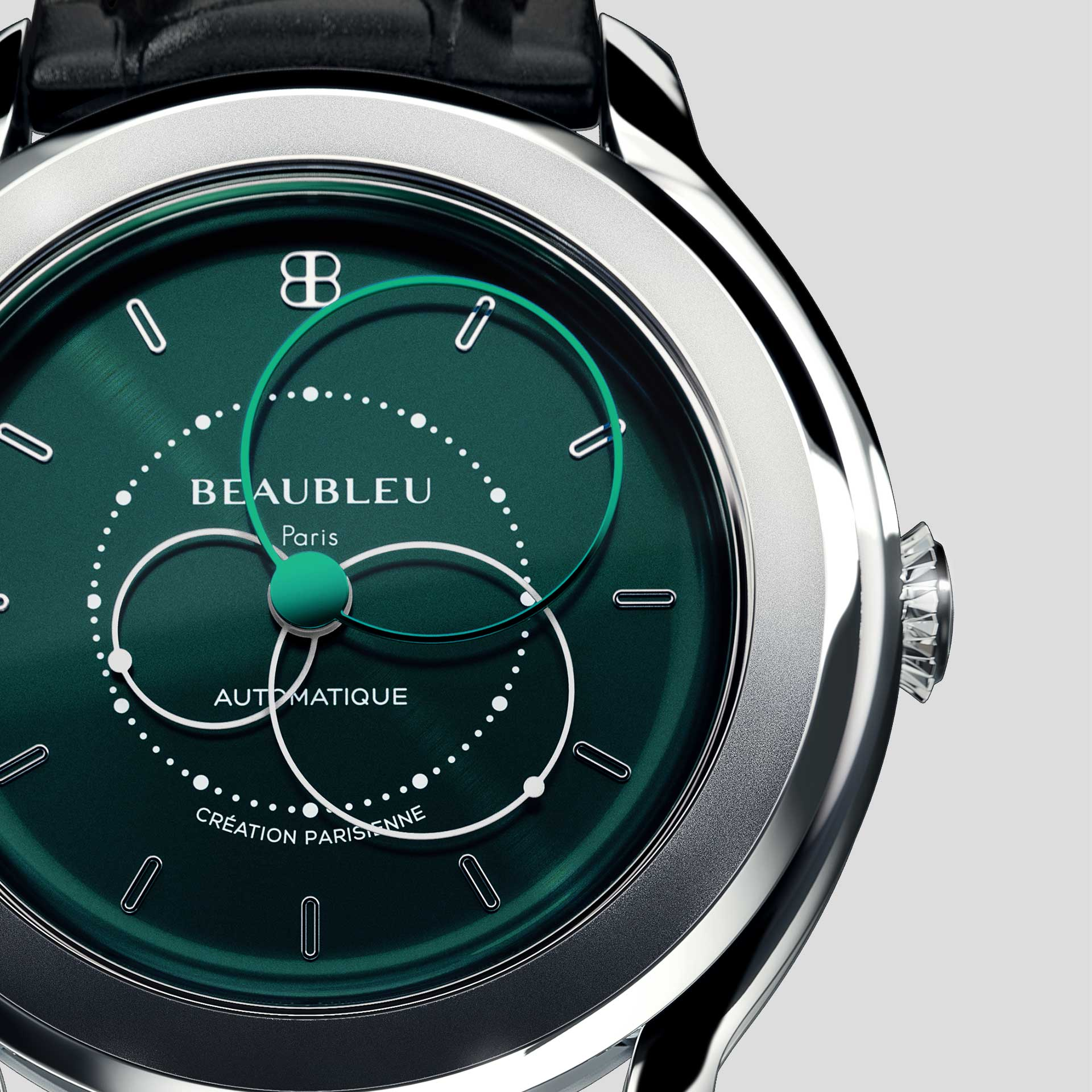 Beaubleu Union collection circular hands automatic watch Emerald Green Brio zoom on dial