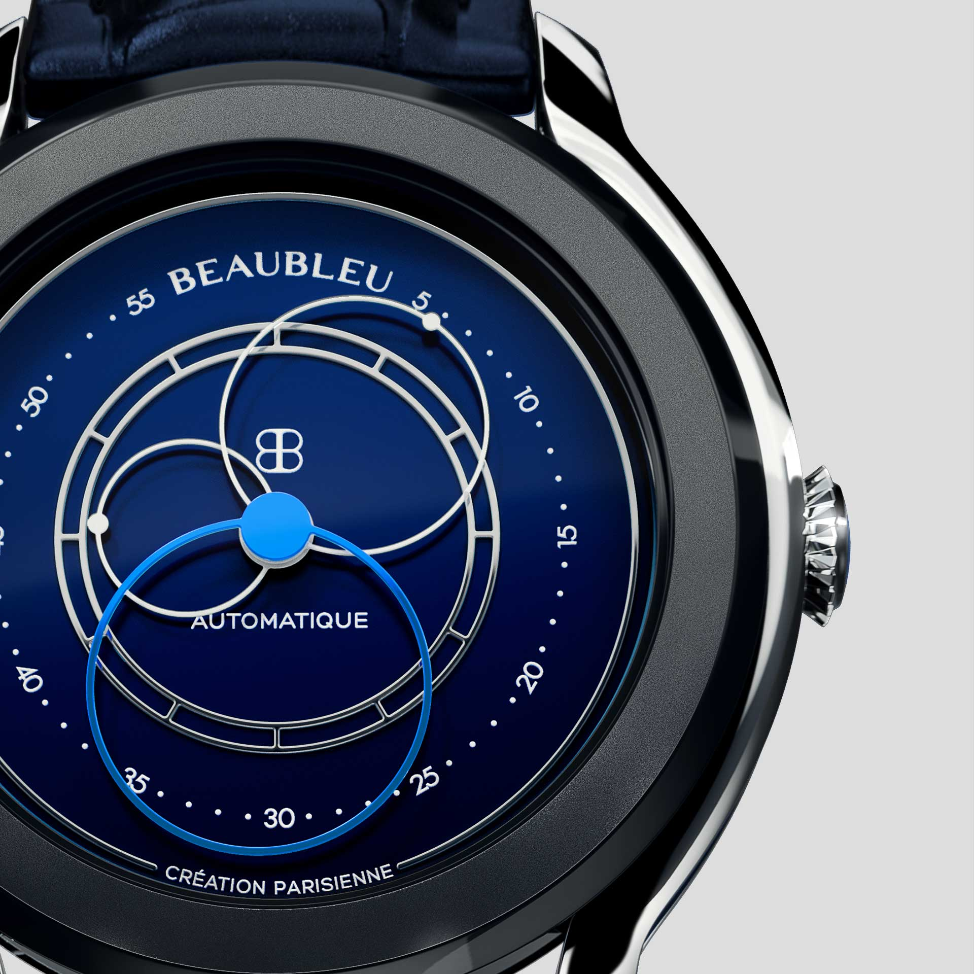Beaubleu Union collection circular hands automatic watch Klein Blue Intrepide zoom on dial
