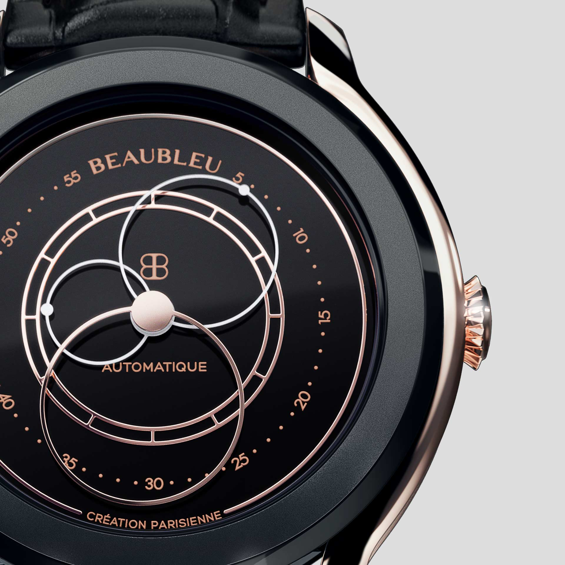 Beaubleu Union collection circular hands automatic watch Black Audace zoom on dial