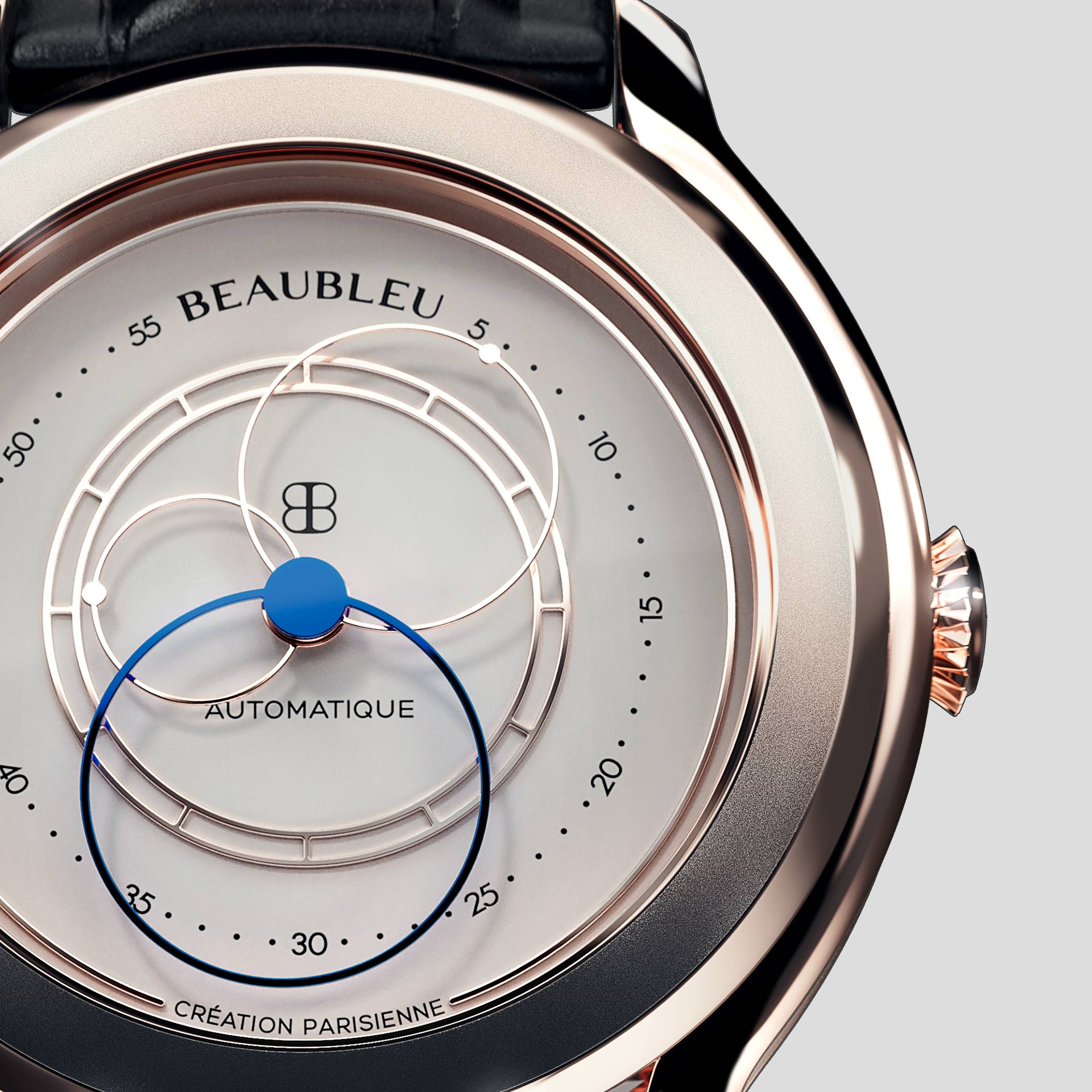 Beaubleu Union collection circular hands automatic watch Olympe zoom on dial
