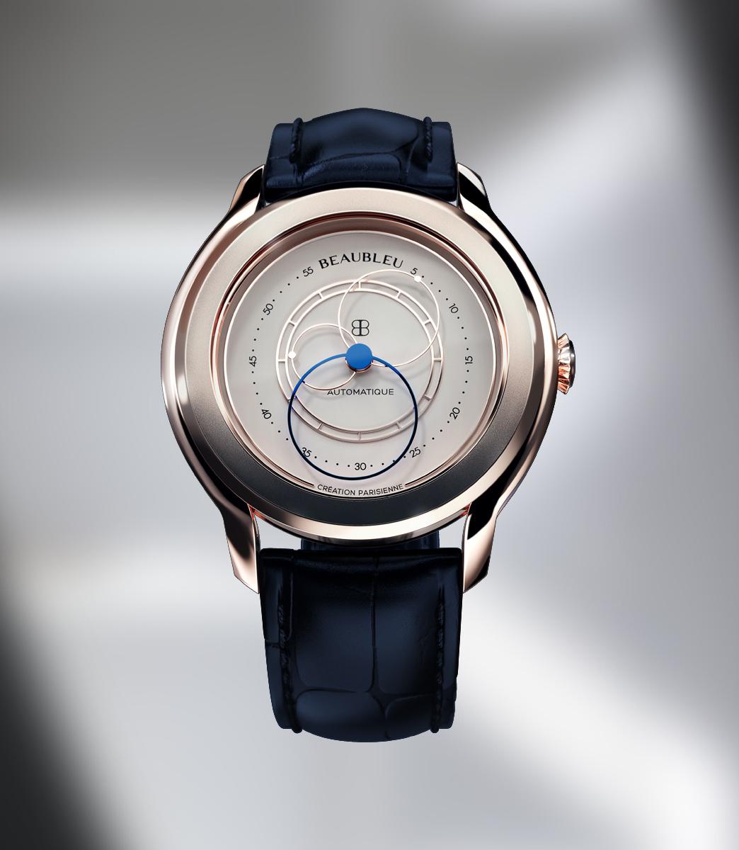 beaubleu-montre-automatique-photo-3D-union-rive-gauche-or-rose-bracelet-bleu