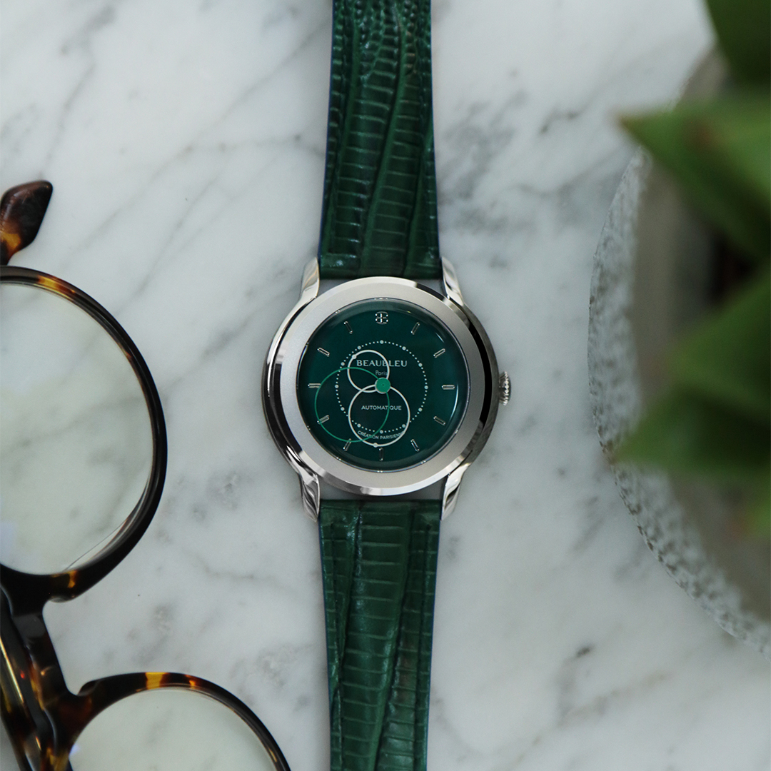 Beaubleu Union collection circular hands automatic watch Emerald Green Brio with green leather strap