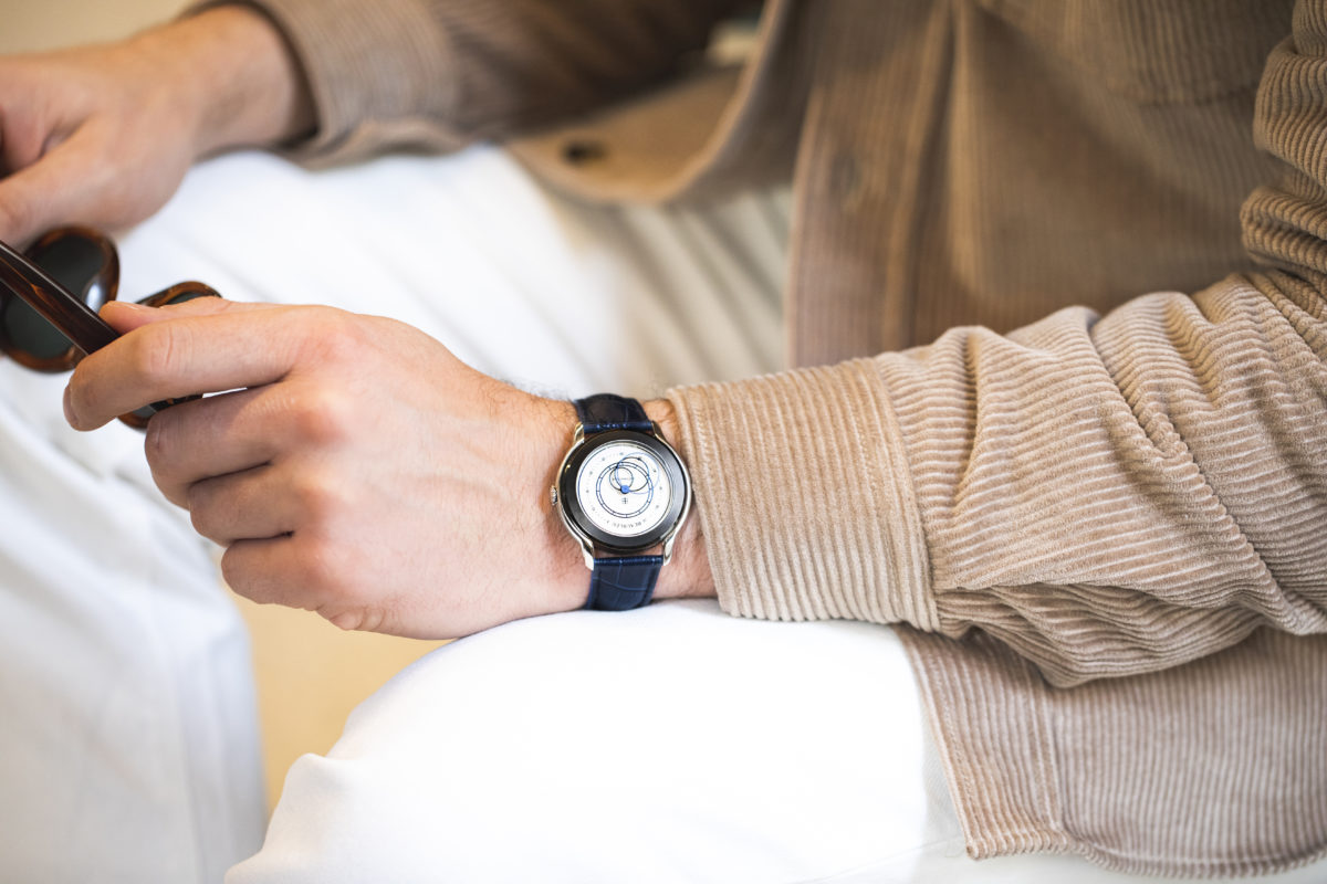 Beaubleu Union collection blued steel circular hands automatic watch Alabaster white Intrepide on man wrist