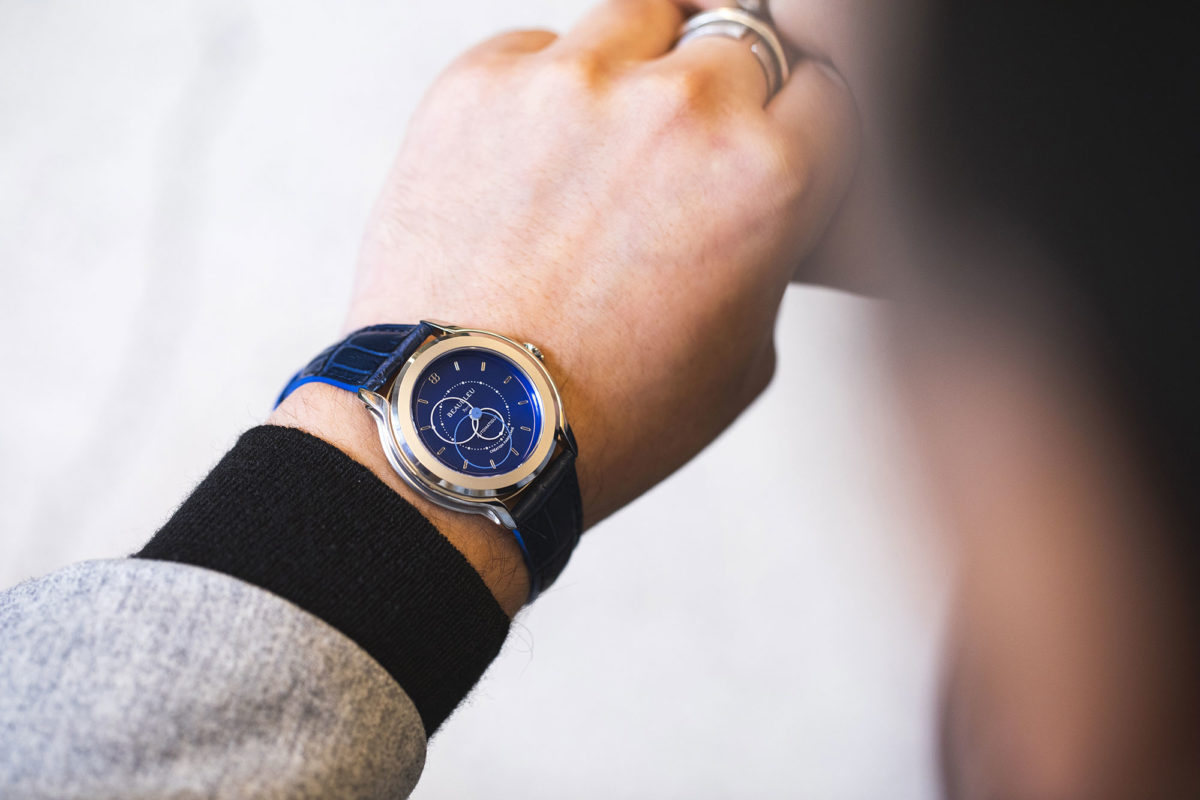 Beaubleu Union collection circular hands automatic watch Blue Brio blue leather strap