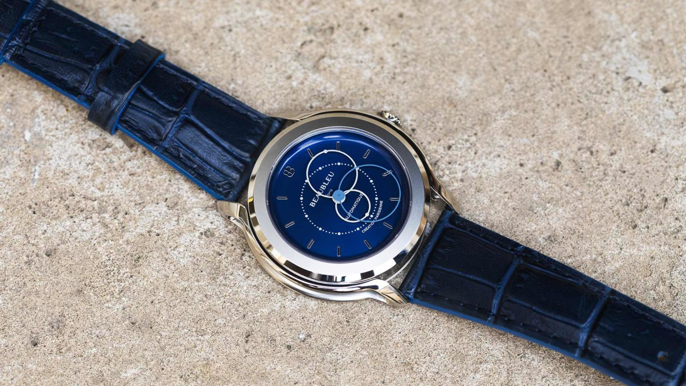 Beaubleu Union collection automatic watch blue brio blue leather watch strap union collection