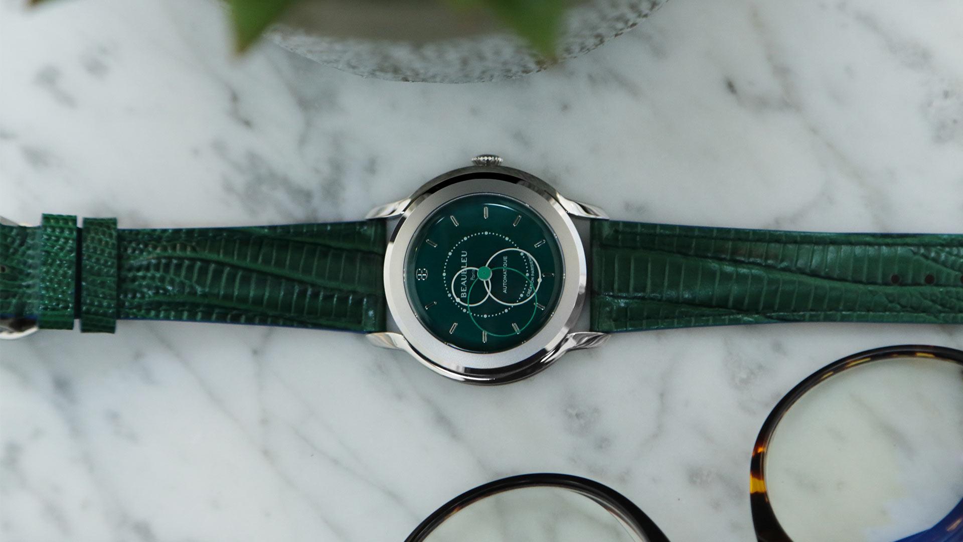 Beaubleu montre automatique aux aiguilles rondes Brio Vert Emeraude avec le bracelet en vert