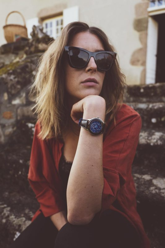 Beaubleu Union Collection circular hands automatic watch with steel horns Intrepide with Klein Blue dial on woman's wrist