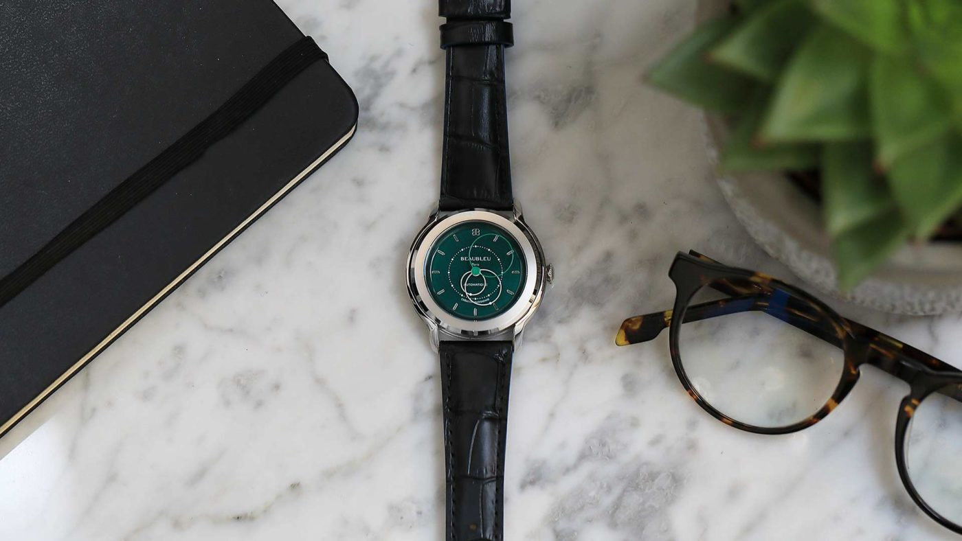 Beaubleu union collection circular hands automatic watch Emerald Green Brio brio with steel case