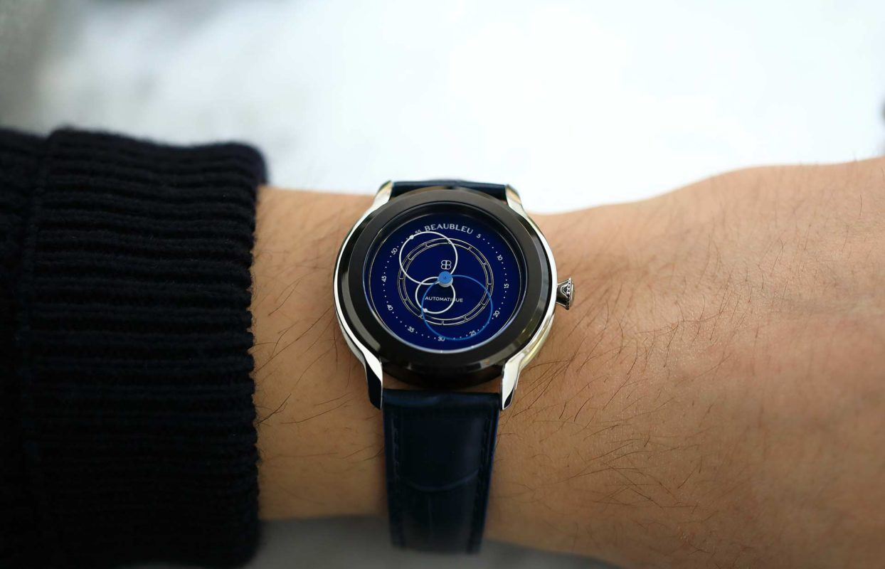Beaubleu union collection circular hands automatic watch Klein Blue Intrepide with steel horns