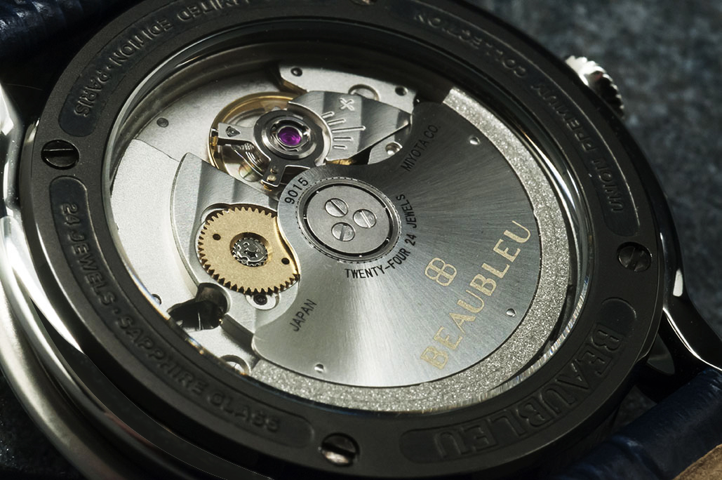 Beaubleu union collection circular hands automatic watch Intrepide with steel horns and Miyota 9015 movement