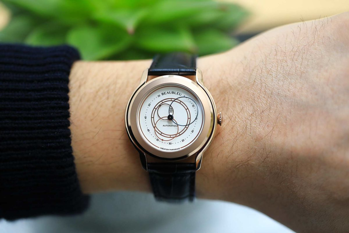 Beaubleu circular hands automatic watch Olympe with rose gold case on man's wrist