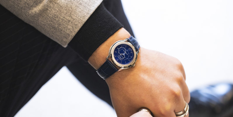 Beaubleu Union collection automatic watch circular hands Blue Brio blue watch strap