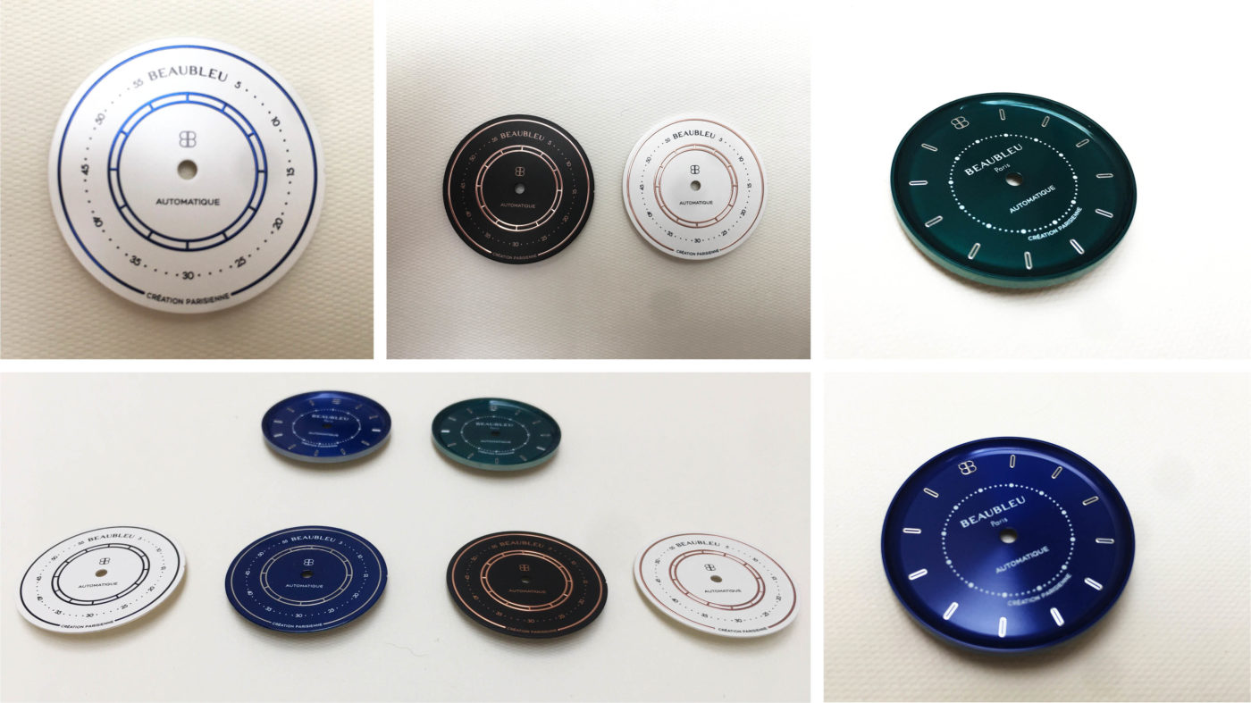 Dials blue green white and black of the union collection