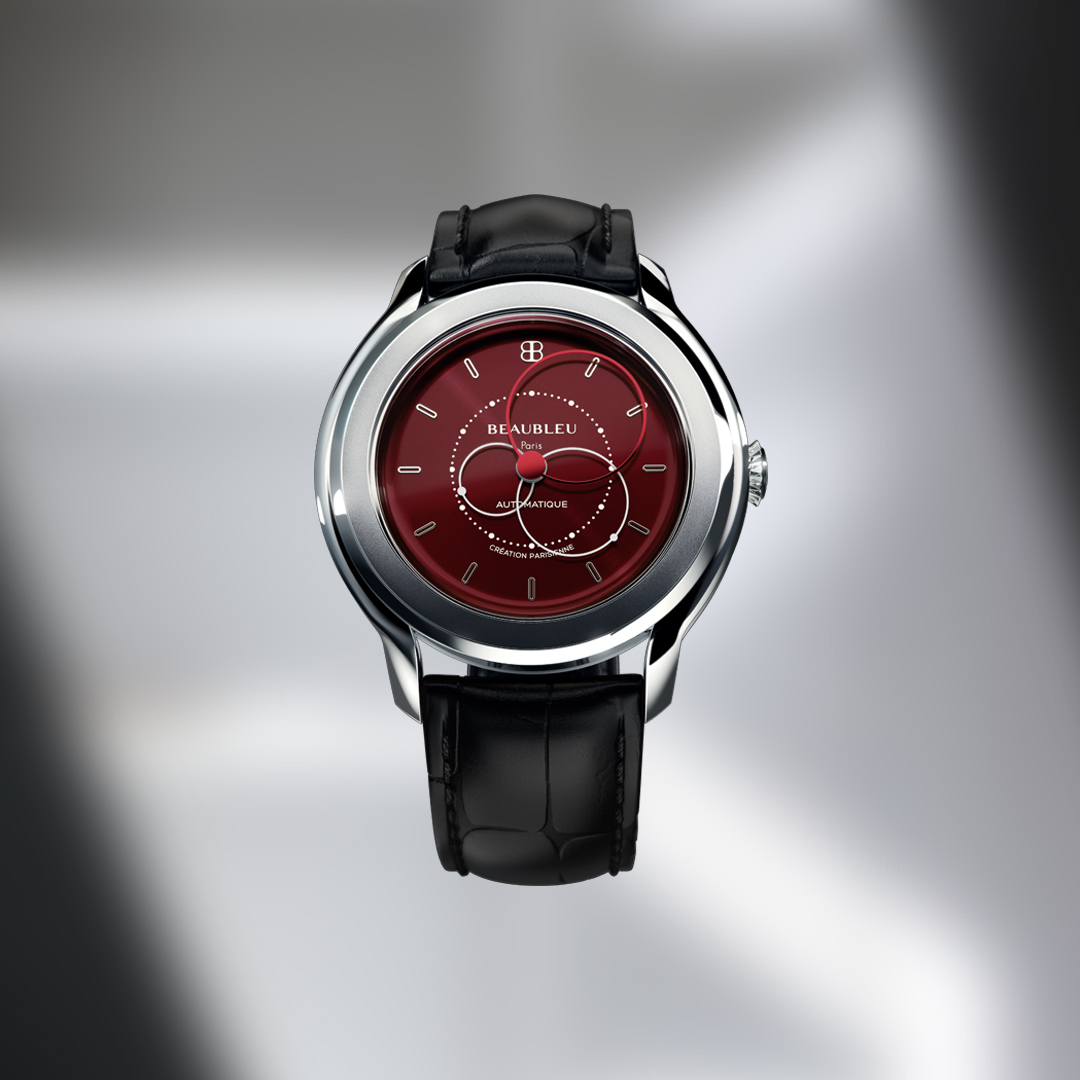 Red dial Beaubleu watch with an premium automatic mouvement and handmade leather strap