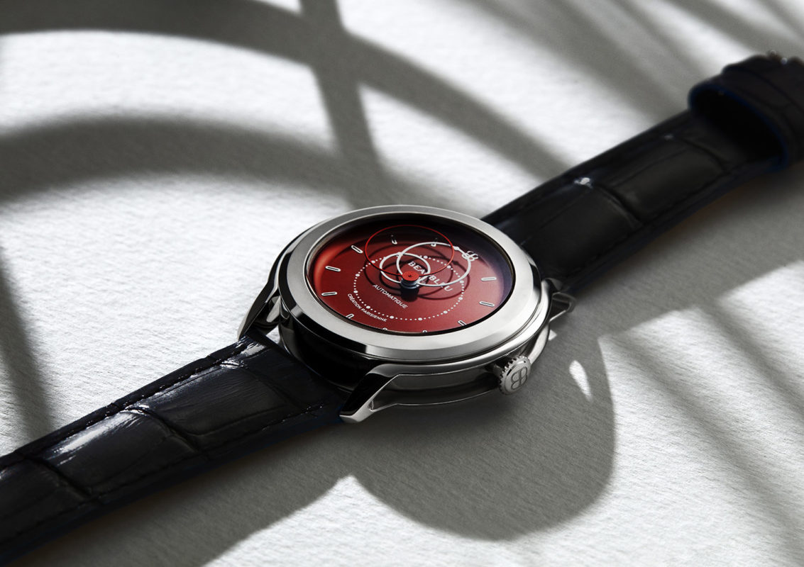 Side view of the Red dial Beaubleu watch with an premium automatic mouvement and handmade leather strap