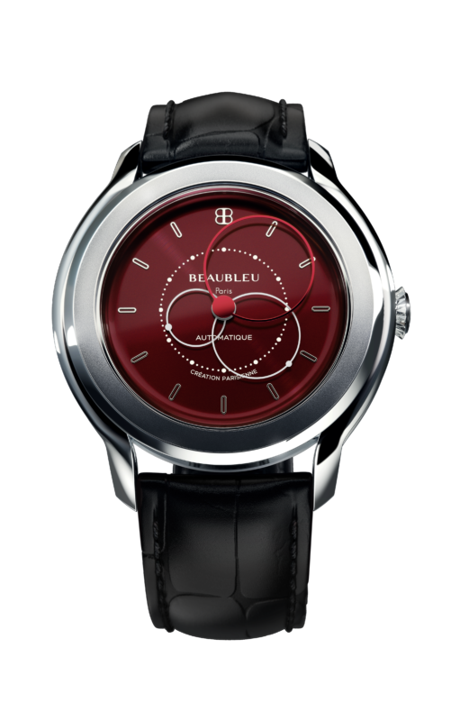 Beaubleu Paris circular hands french automatic watch Brio Vermilion Red