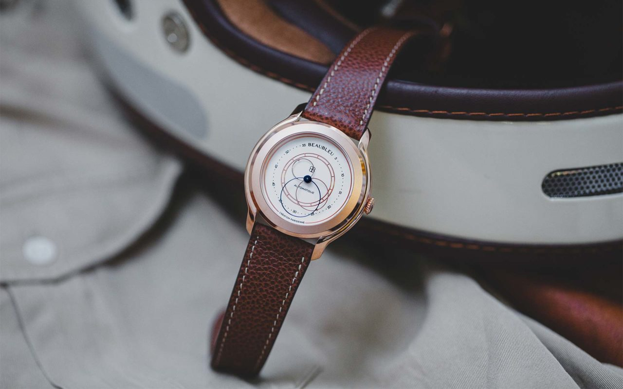 Grained leather watch strap handmade in France. Beaubleu x Joseph Bonnie. Circular hands automatic watch Olympe.