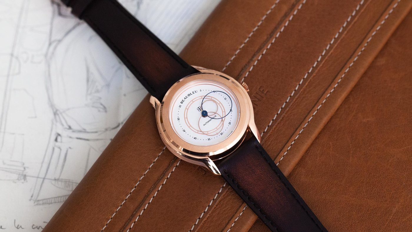 Beaubleu cognac patina leather strap handmade in France limited edition with olympe automatic watch