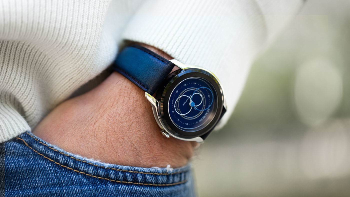 Beaubleu blue patina leather strap handmade in France limited edition with Intrepide Klein Blue automatic watch