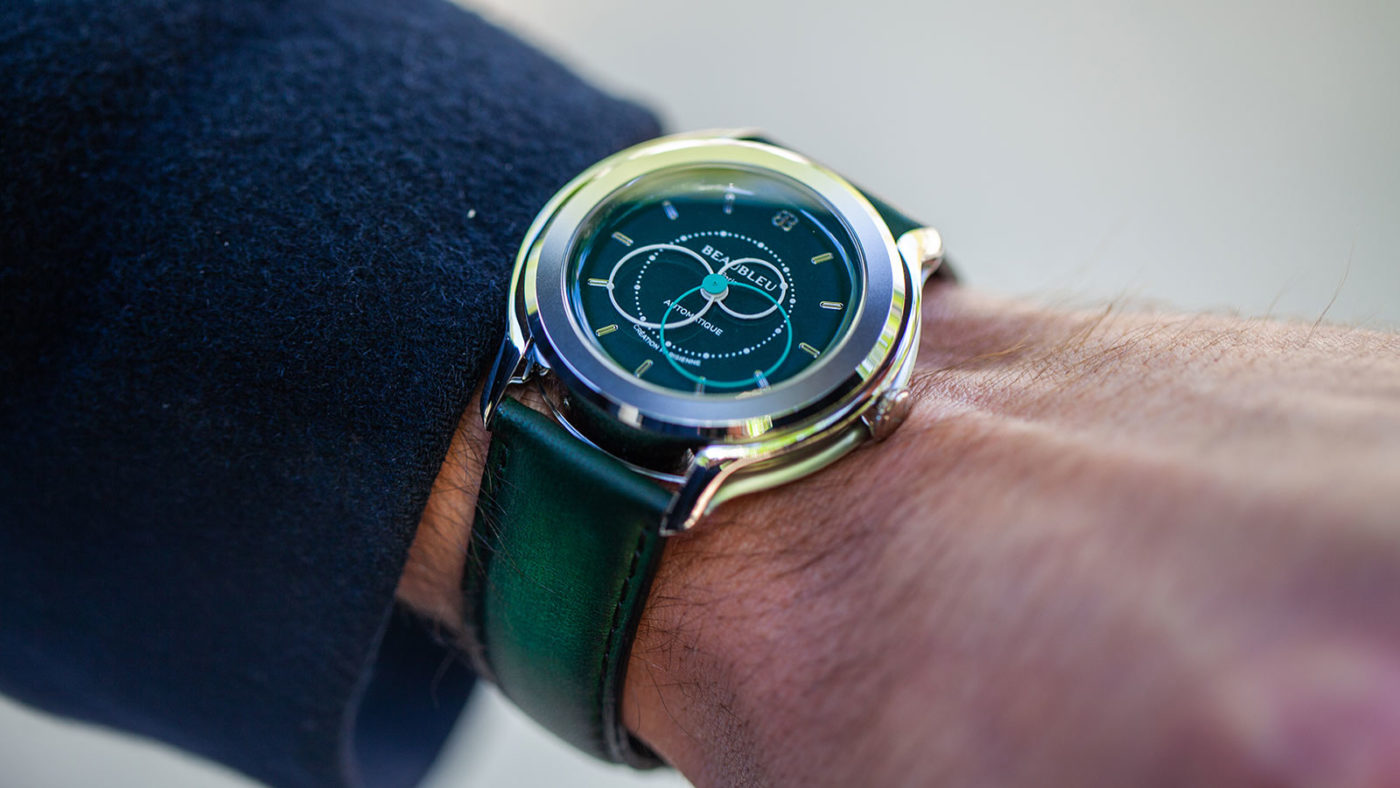 Beaubleu green patina leather strap handmade in France limited edition with brio emerald green automatic watch