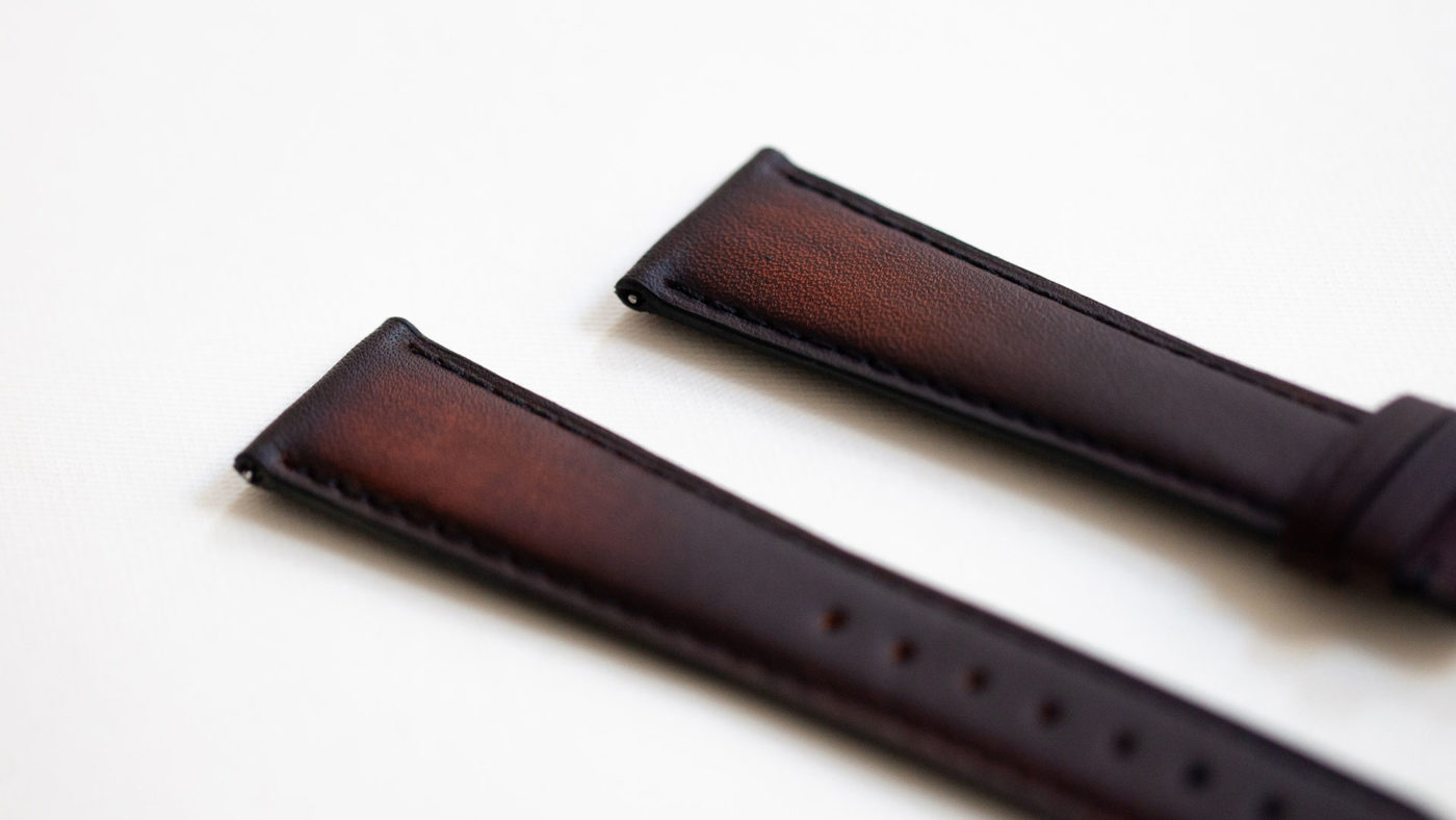 Beaubleu cognac patina leather watch strap handmade in France limited edition
