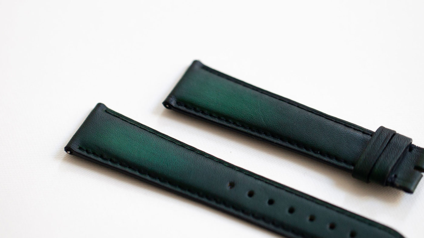 Beaubleu green patina leather watch strap handmade in France limited edition